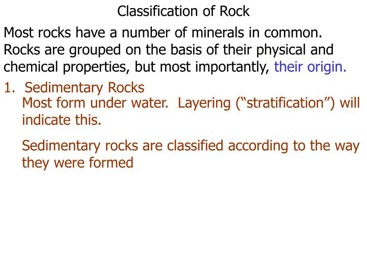 Classification of Rock