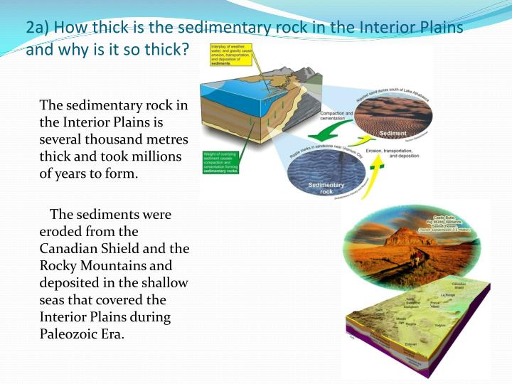 2a) How thick is the sedimentary rock in the Interior Plains and why is it so thick?
