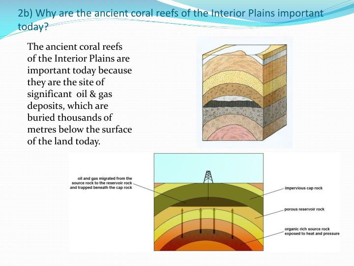 2b) Why are the ancient coral reefs of the Interior Plains important today?