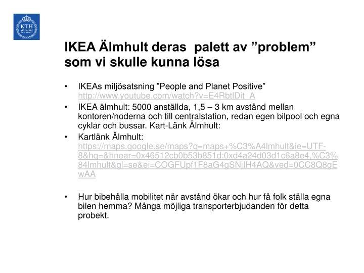 """IKEA Älmhult deras  palett av """"problem"""" som vi skulle kunna lösa"""