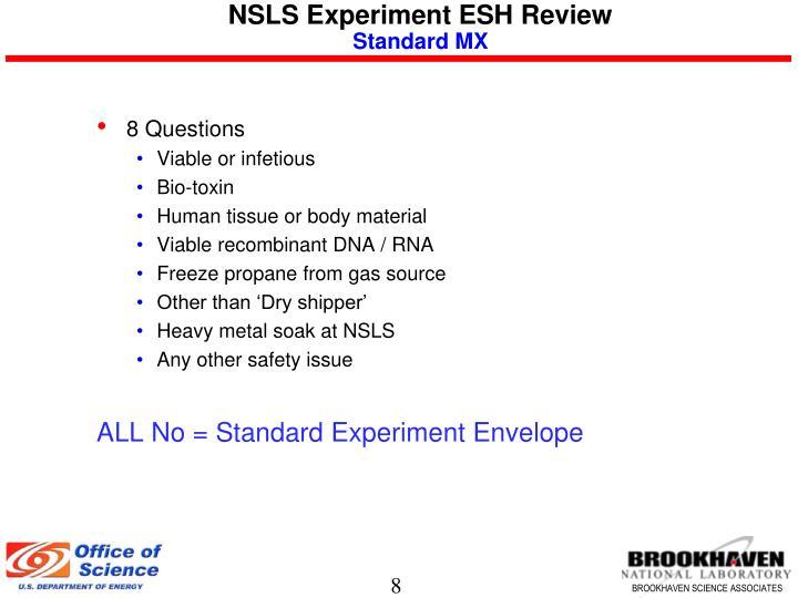 NSLS Experiment ESH Review