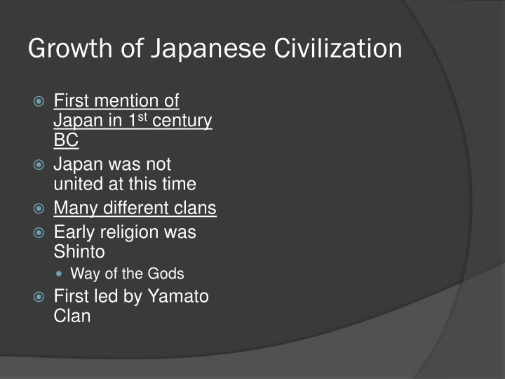 Growth of Japanese Civilization