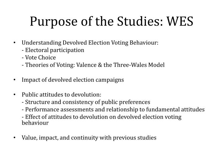 Purpose of the Studies: WES