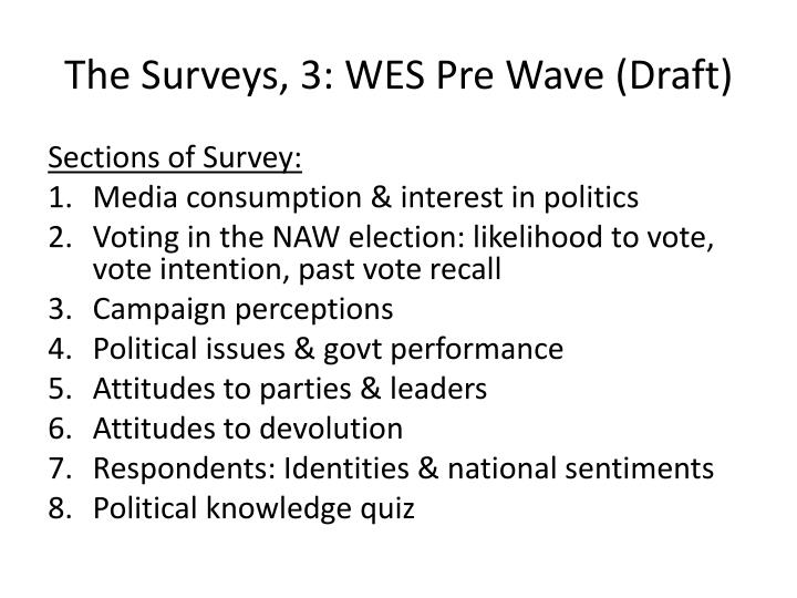 The Surveys, 3: WES Pre Wave (Draft)