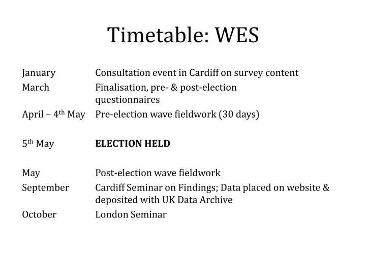 Timetable: WES