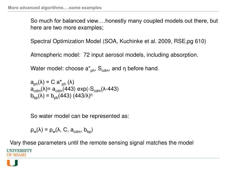 More advanced algorithms….some examples