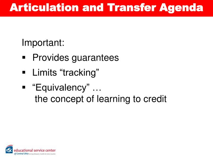 Articulation and Transfer Agenda