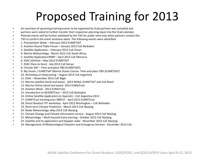 Proposed Training for 2013