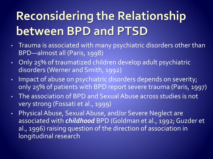 Reconsidering the Relationship between BPD and PTSD