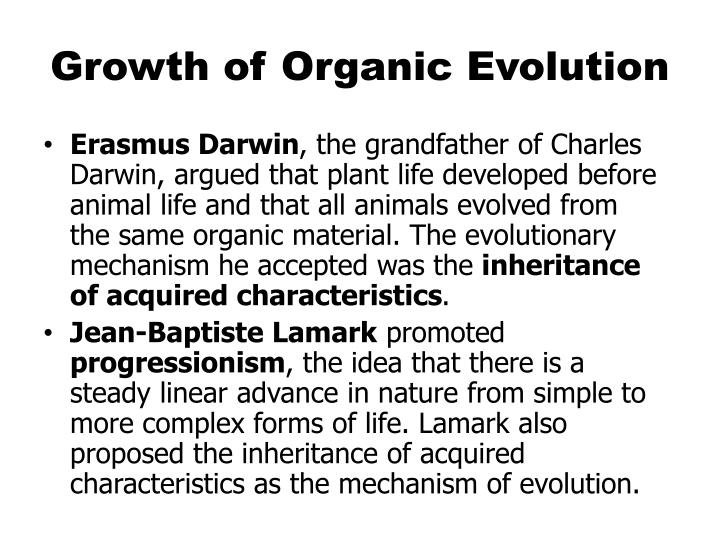 Growth of Organic Evolution