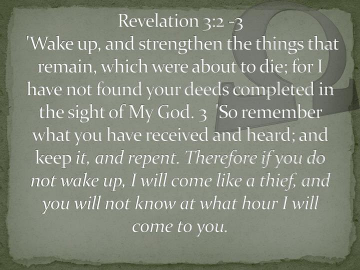 Revelation 3:2 -3