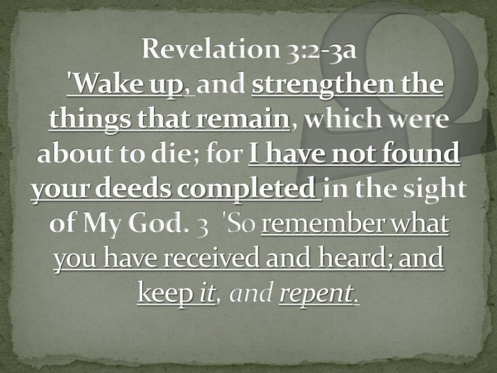 Revelation 3:2-3a