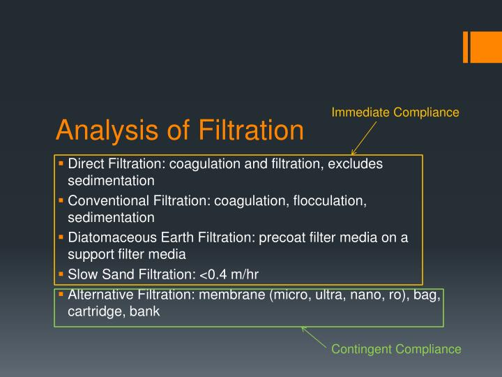 Analysis of Filtration