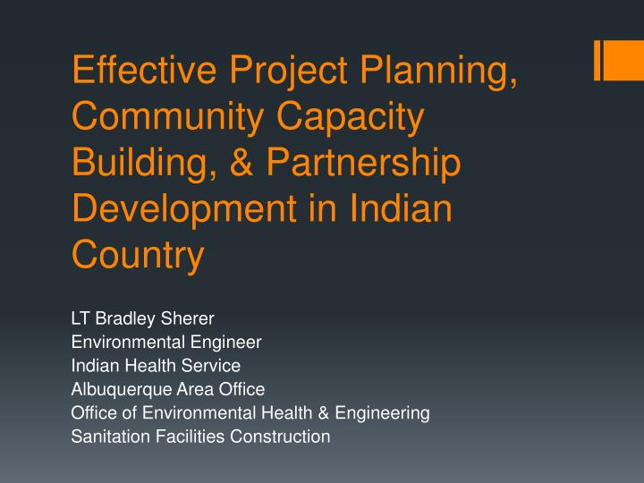 Effective Project Planning, Community Capacity Building, & Partnership Development in Indian Country