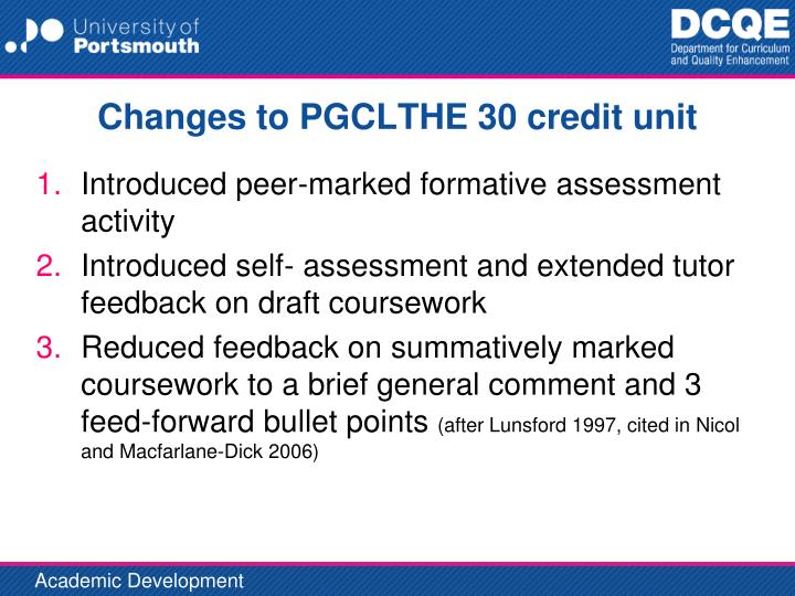 Changes to PGCLTHE 30 credit unit