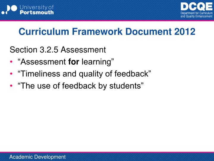 Curriculum framework document 2012