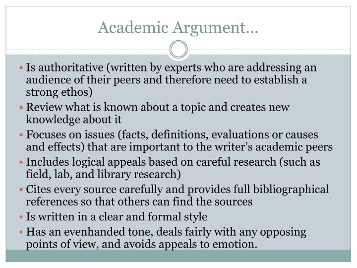 Academic Argument…
