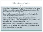 claiming authority