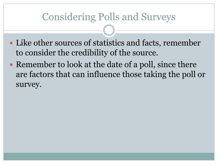 Considering Polls and Surveys