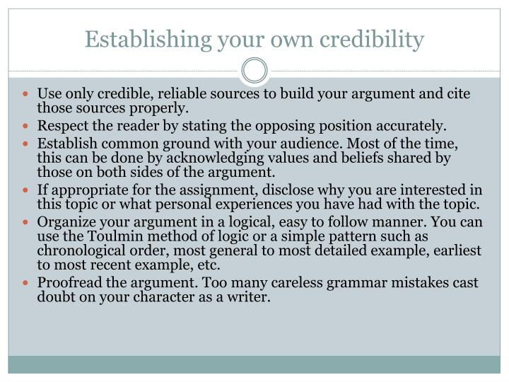 Establishing your own credibility