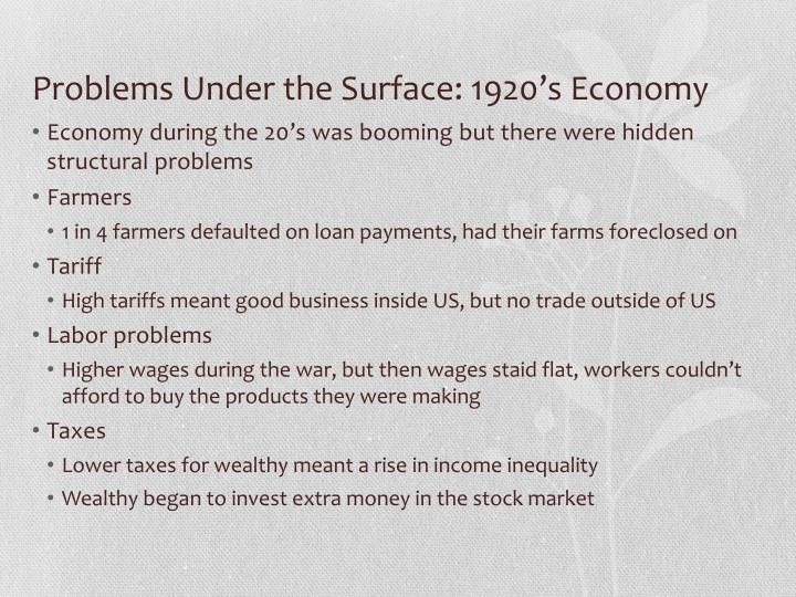 Problems Under the Surface: 1920's Economy
