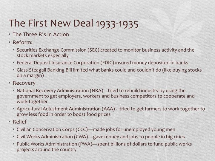 The First New Deal 1933-1935