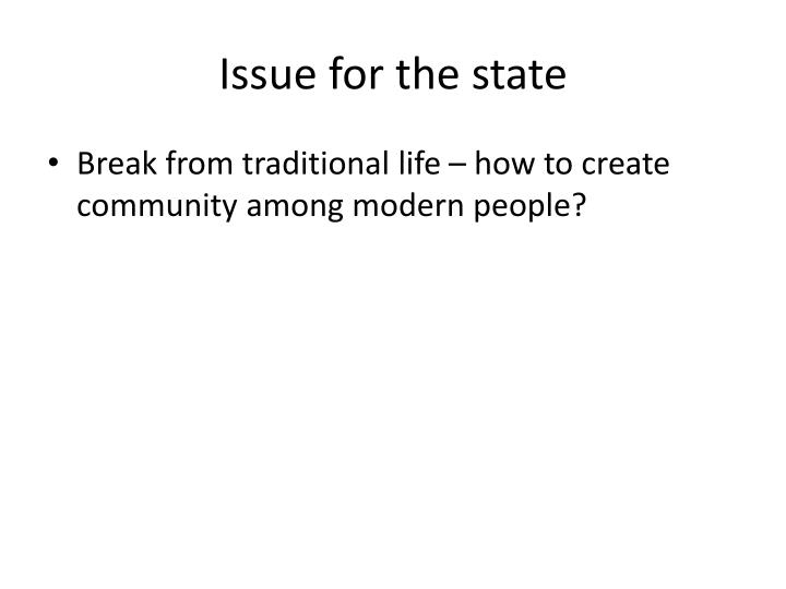 Issue for the state