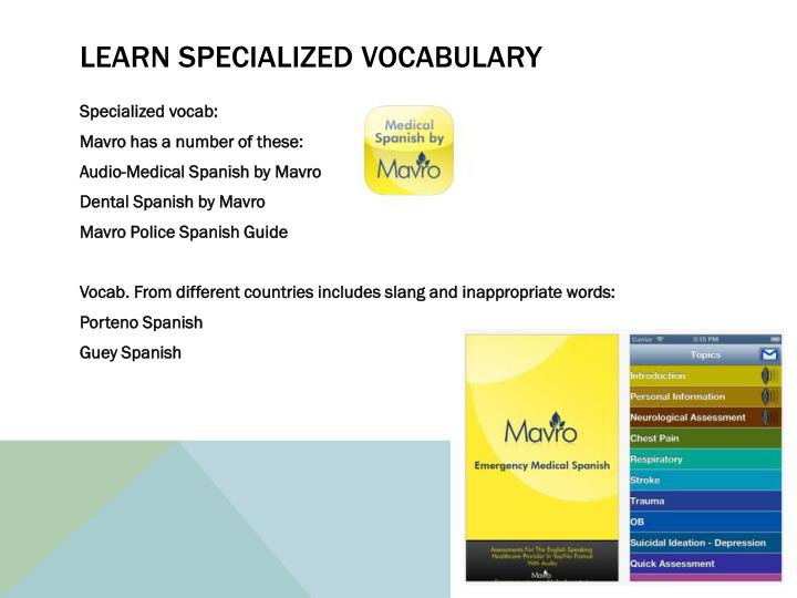 learn specialized vocabulary