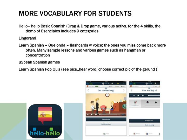More vocabulary for students