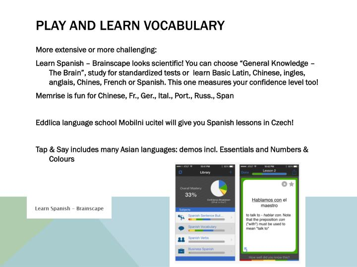 Play and learn vocabulary