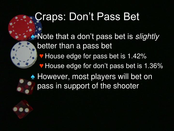 Craps: Don't Pass Bet