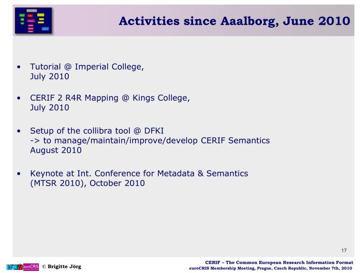 Activities since Aaalborg, June 2010