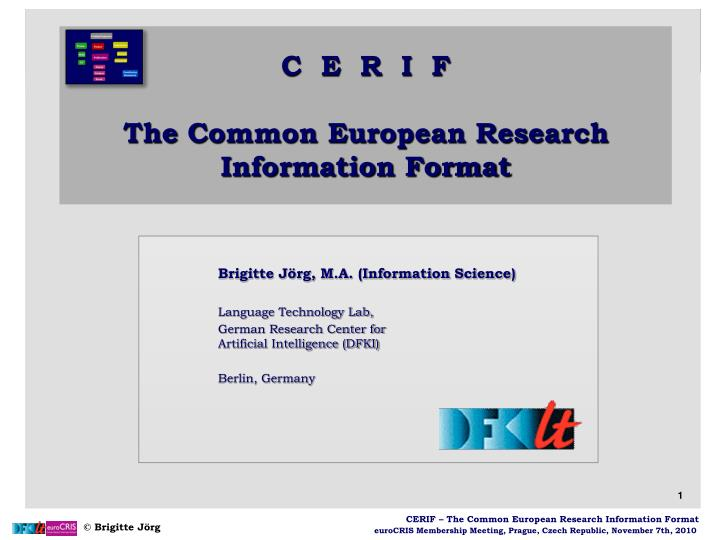 C e r i f the common european research information format