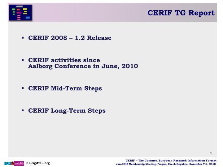 CERIF TG Report
