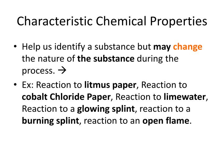 Characteristic Chemical Properties