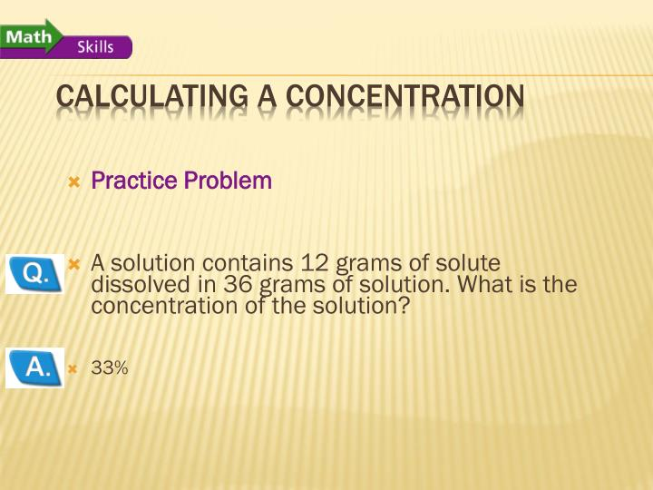 Calculating a Concentration