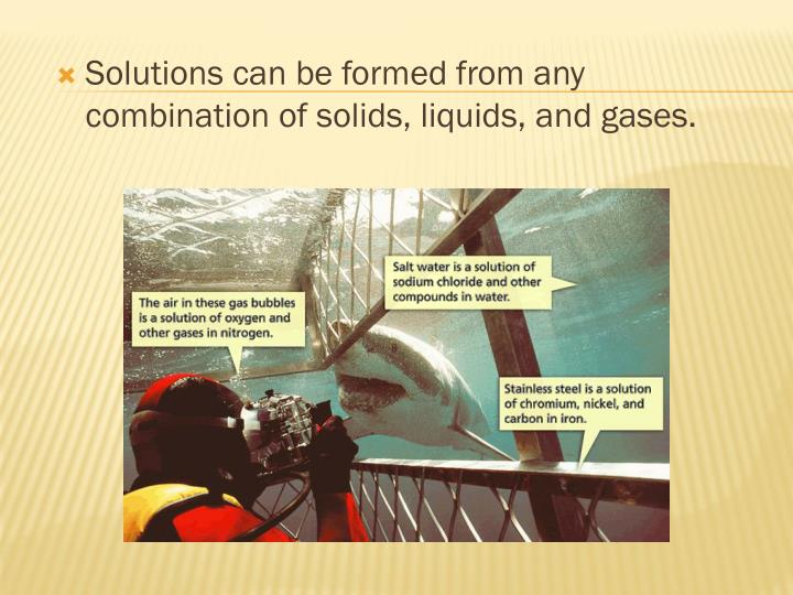 Solutions can be formed from any combination of solids, liquids, and gases.