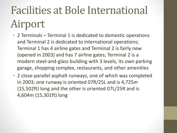 Facilities at Bole International Airport