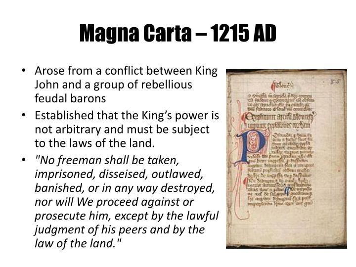 Magna Carta – 1215 AD