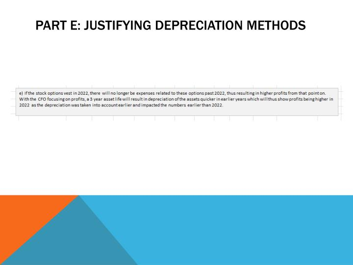 Part e: JUSTIFYING DEPRECIATION METHODS