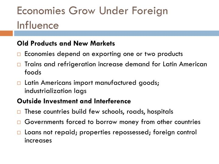 Economies Grow Under Foreign Influence