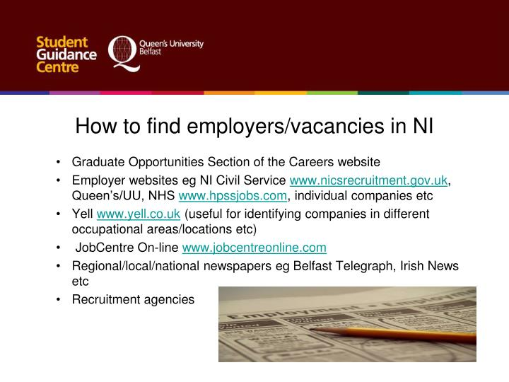 How to find employers/vacancies in NI