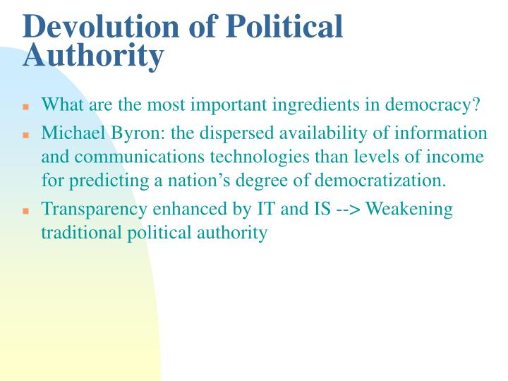 Devolution of Political Authority