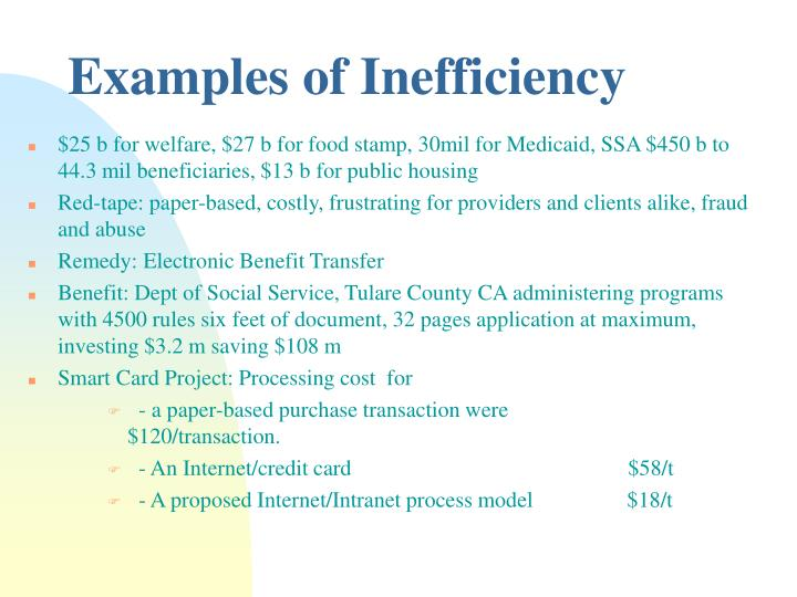 Examples of Inefficiency