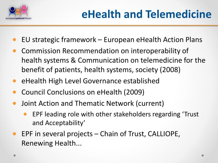 eHealth and Telemedicine