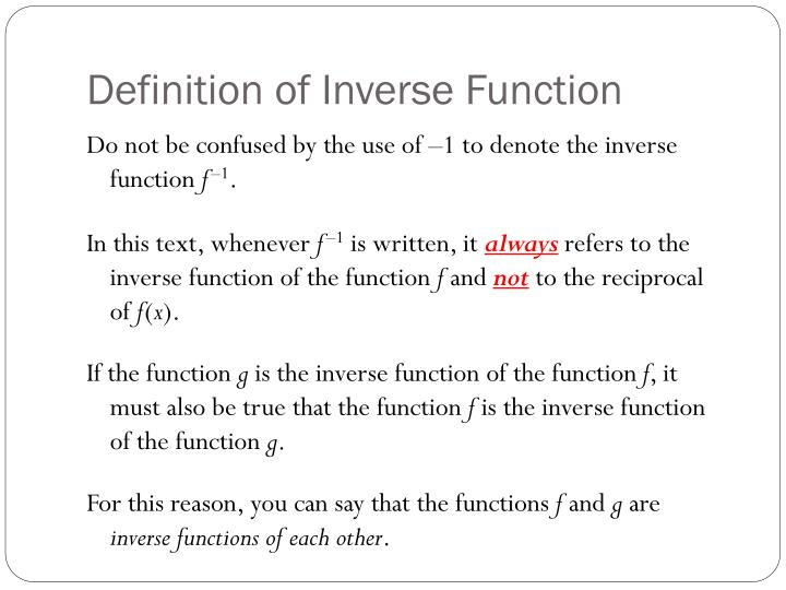Definition of Inverse Function