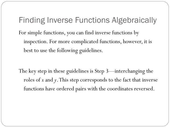 Finding Inverse Functions Algebraically