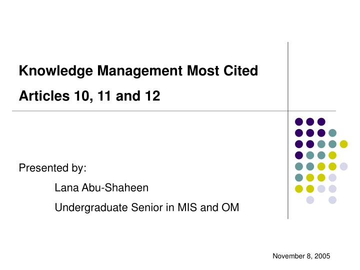 Knowledge Management Most Cited