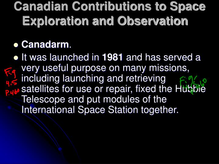 Canadian Contributions to Space Exploration and Observation