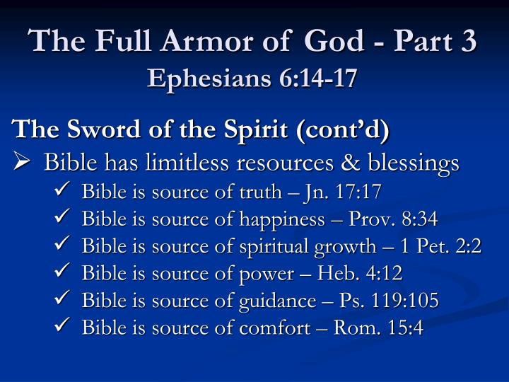 The Sword of the Spirit (cont'd)